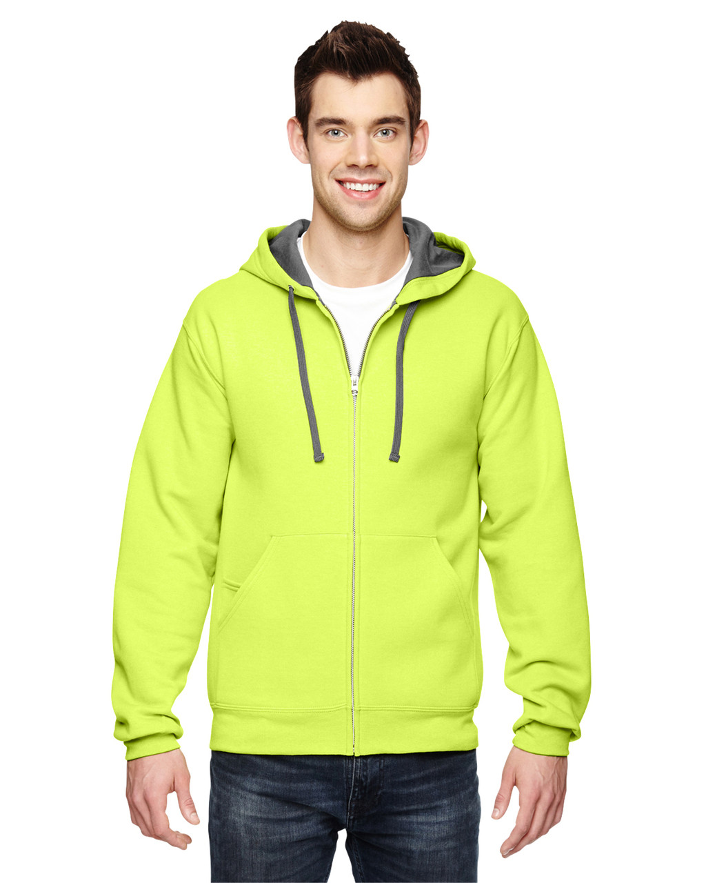 Citrus Green - SF73R Fruit Of The Loom Softspun Full-Zip Hooded Sweatshirt | Blankclothing.ca