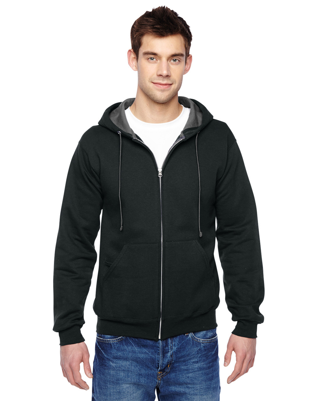 Black - SF73R Fruit Of The Loom Softspun Full-Zip Hooded Sweatshirt | Blankclothing.ca