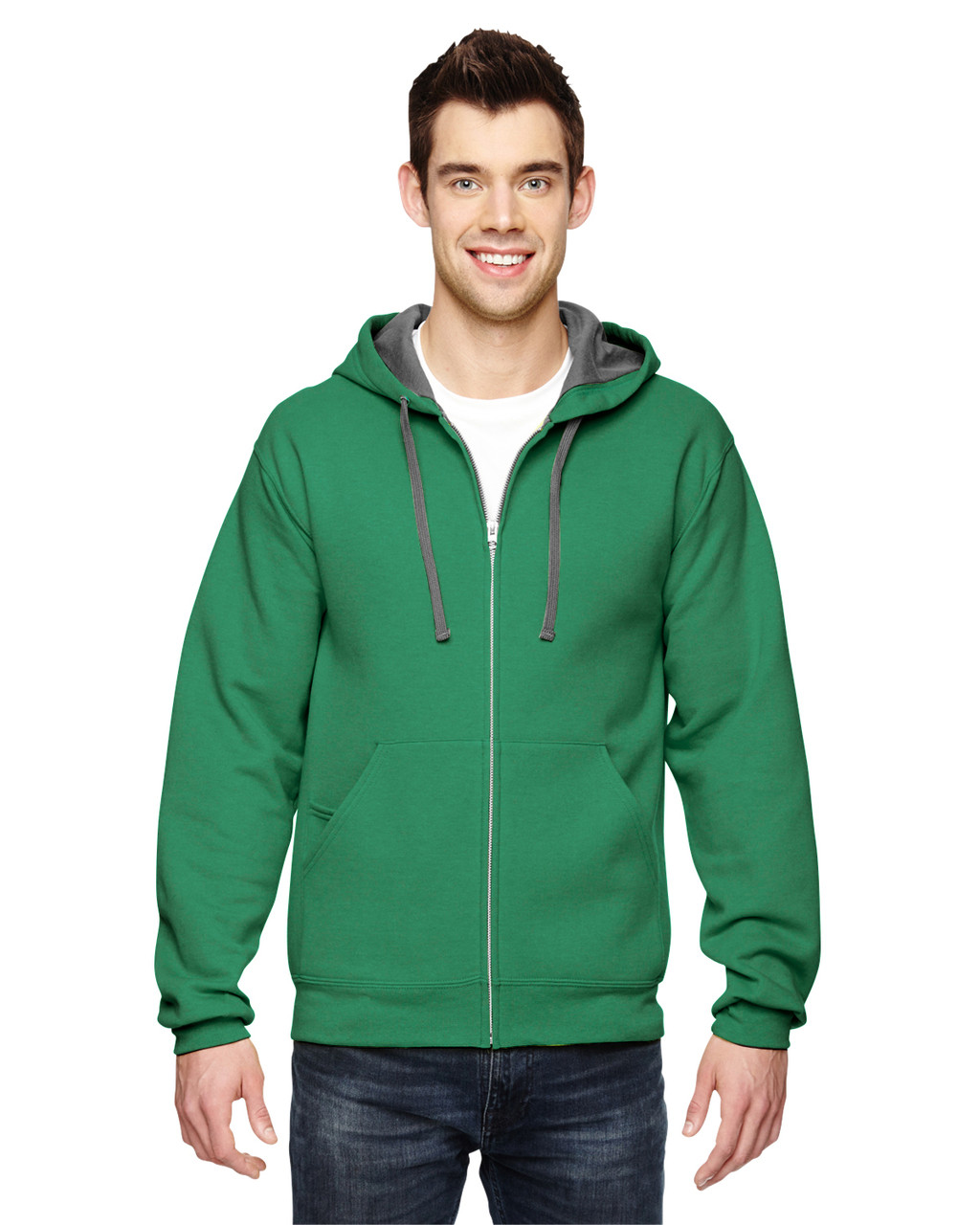 Clover - SF73R Fruit Of The Loom Softspun Full-Zip Hooded Sweatshirt | Blankclothing.ca