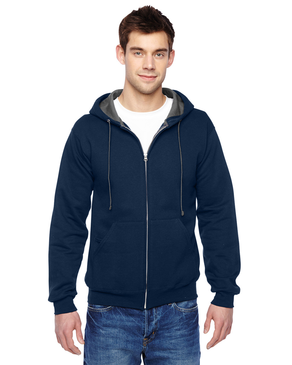 Navy - SF73R Fruit Of The Loom Softspun Full-Zip Hooded Sweatshirt | Blankclothing.ca