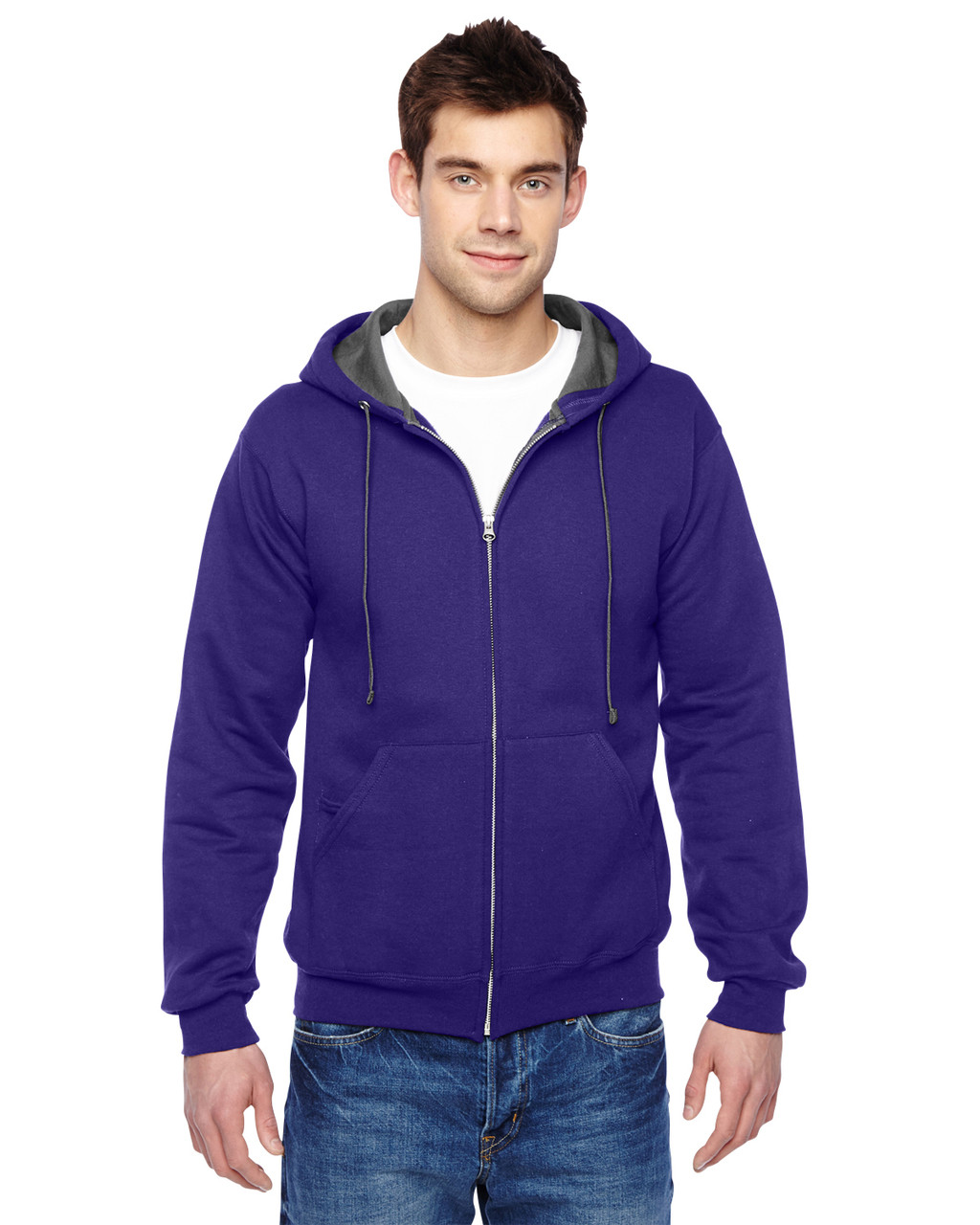 Purple - SF73R Fruit Of The Loom Softspun Full-Zip Hooded Sweatshirt | Blankclothing.ca