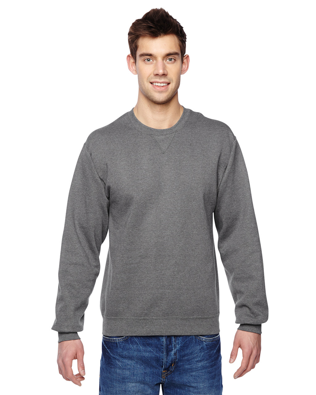 Charcoal Heather - SF72R Fruit of the Loom Sofspun® Crewneck Sweatshirt  | Blankclothing.ca