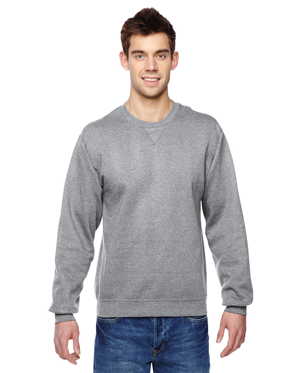 Athletic Heather SF72R Fruit of the Loom Sofspun® Crewneck Sweatshirt  | Blankclothing.ca