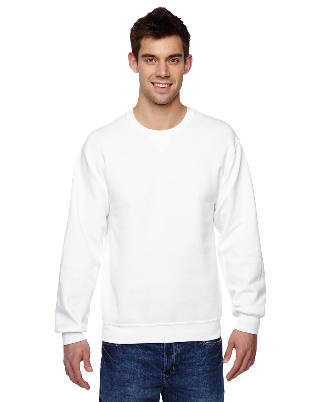 White - SF72R Fruit of the Loom Sofspun® Crewneck Sweatshirt  | Blankclothing.ca