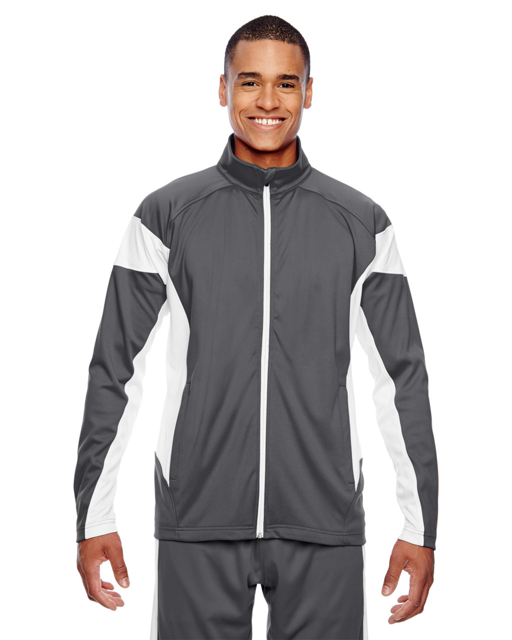 Graphite/White - TT34 Team 365 Men's Performance Full-Zip Jacket | Blankclothing.ca