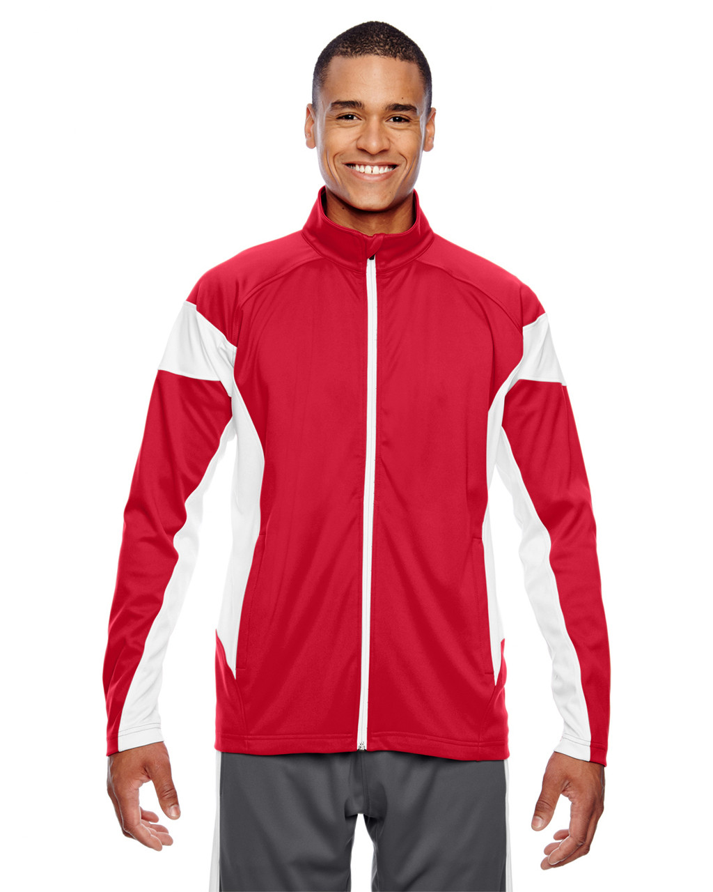 Red/White - TT34 Team 365 Men's Performance Full-Zip Jacket | Blankclothing.ca
