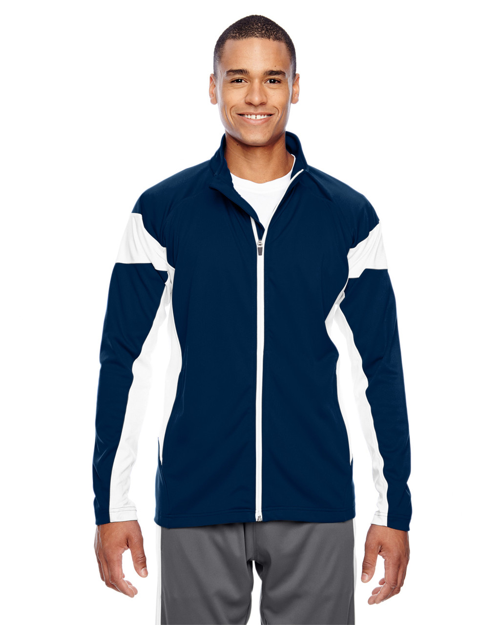 Dark Navy/White - TT34 Team 365 Men's Performance Full-Zip Jacket | Blankclothing.ca