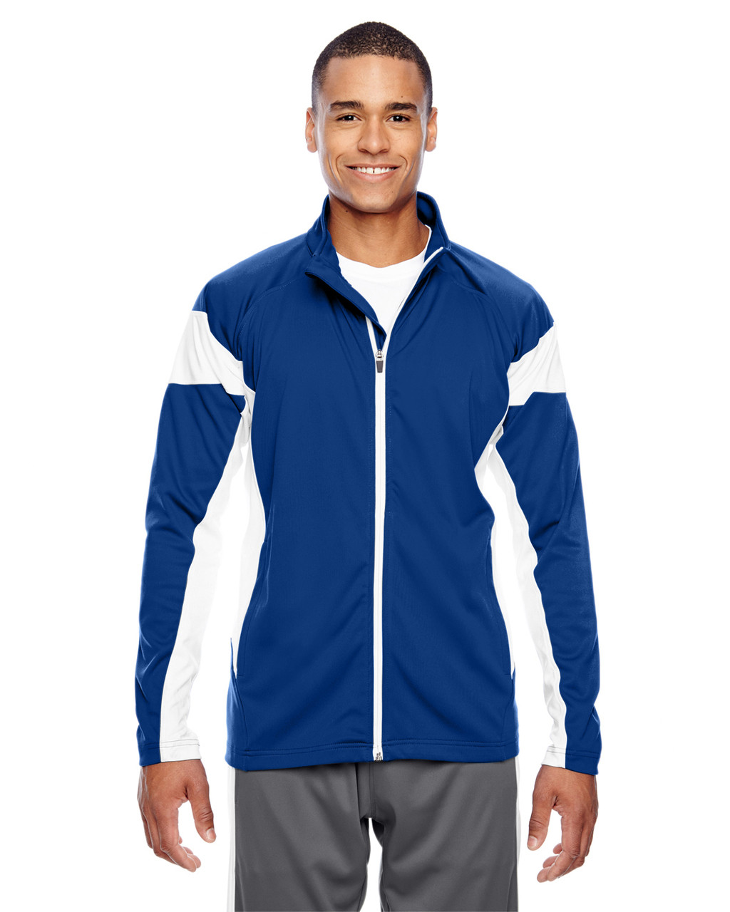 Royal/White - TT34 Team 365 Men's Performance Full-Zip Jacket | Blankclothing.ca
