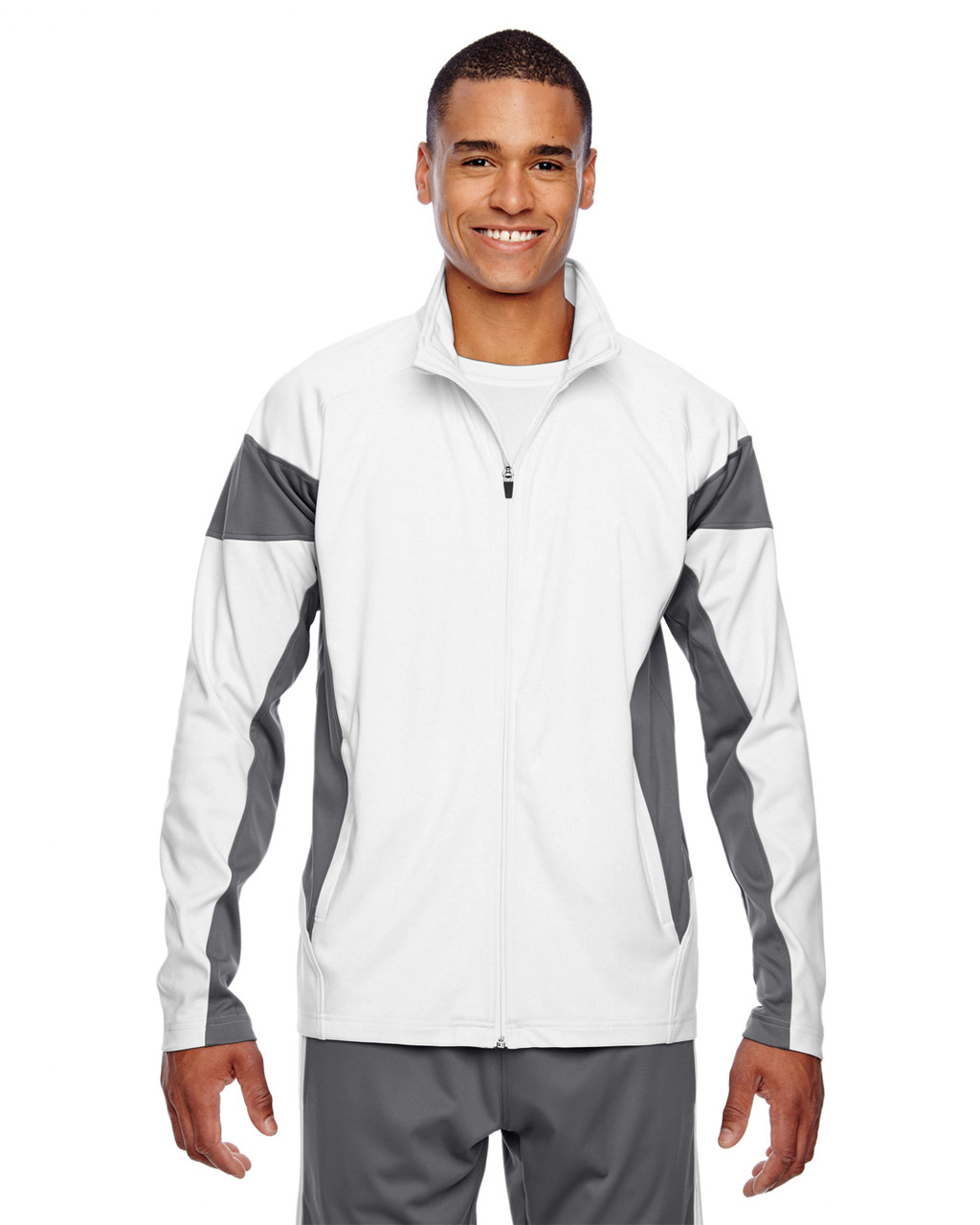 White/Graphite - TT34 Team 365 Men's Performance Full-Zip Jacket | Blankclothing.ca