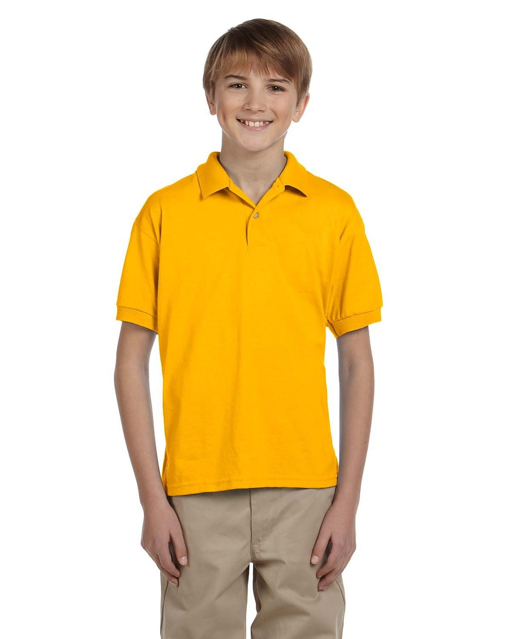 Gold - G880B Gildan DryBlend® Youth 50/50 Jersey Polo Shirt | Blankclothing.ca