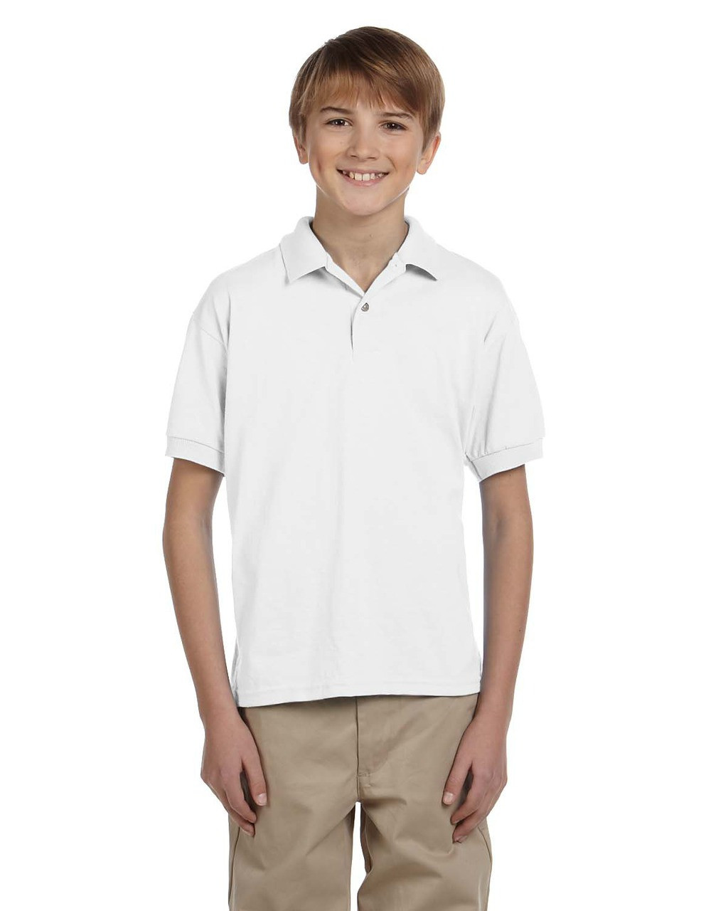 White - G880B Gildan DryBlend® Youth 50/50 Jersey Polo Shirt | Blankclothing.ca