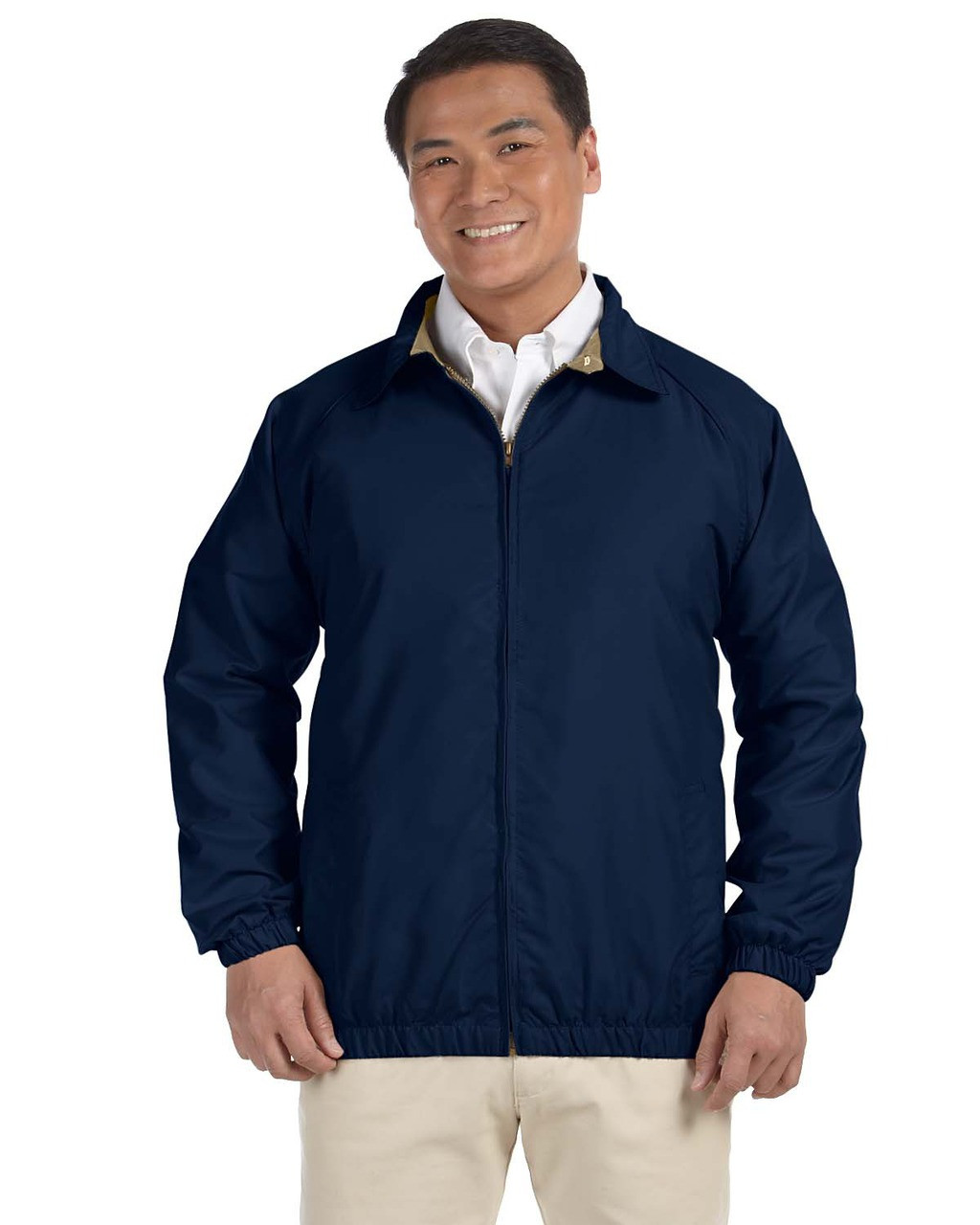Navy/Stone - M710 Harriton Microfibre Club Jacket | Blankclothing.ca