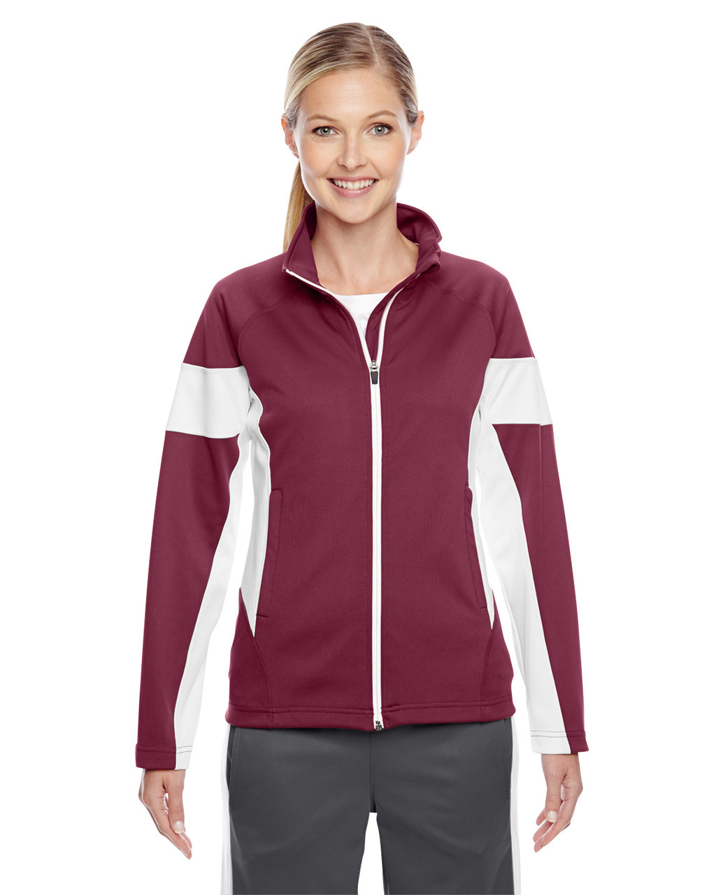 Maroon/White - TT34W Team 365 Ladies' Elite Performance Full-Zip Jacket