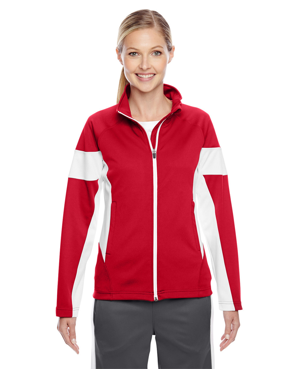 Red/White - TT34W Team 365 Ladies' Elite Performance Full-Zip Jacket