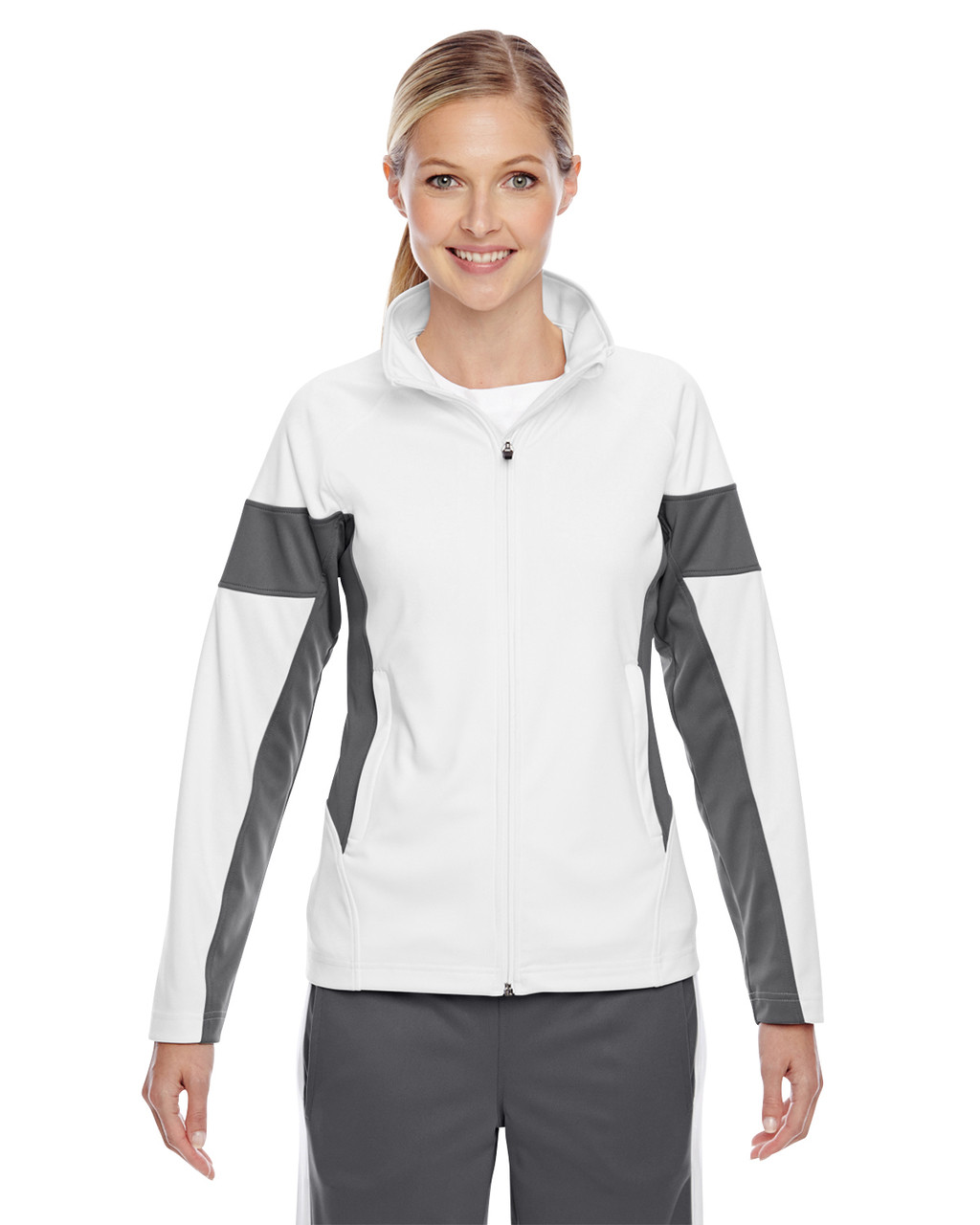 White/Graphite - TT34W Team 365 Ladies' Elite Performance Full-Zip Jacket
