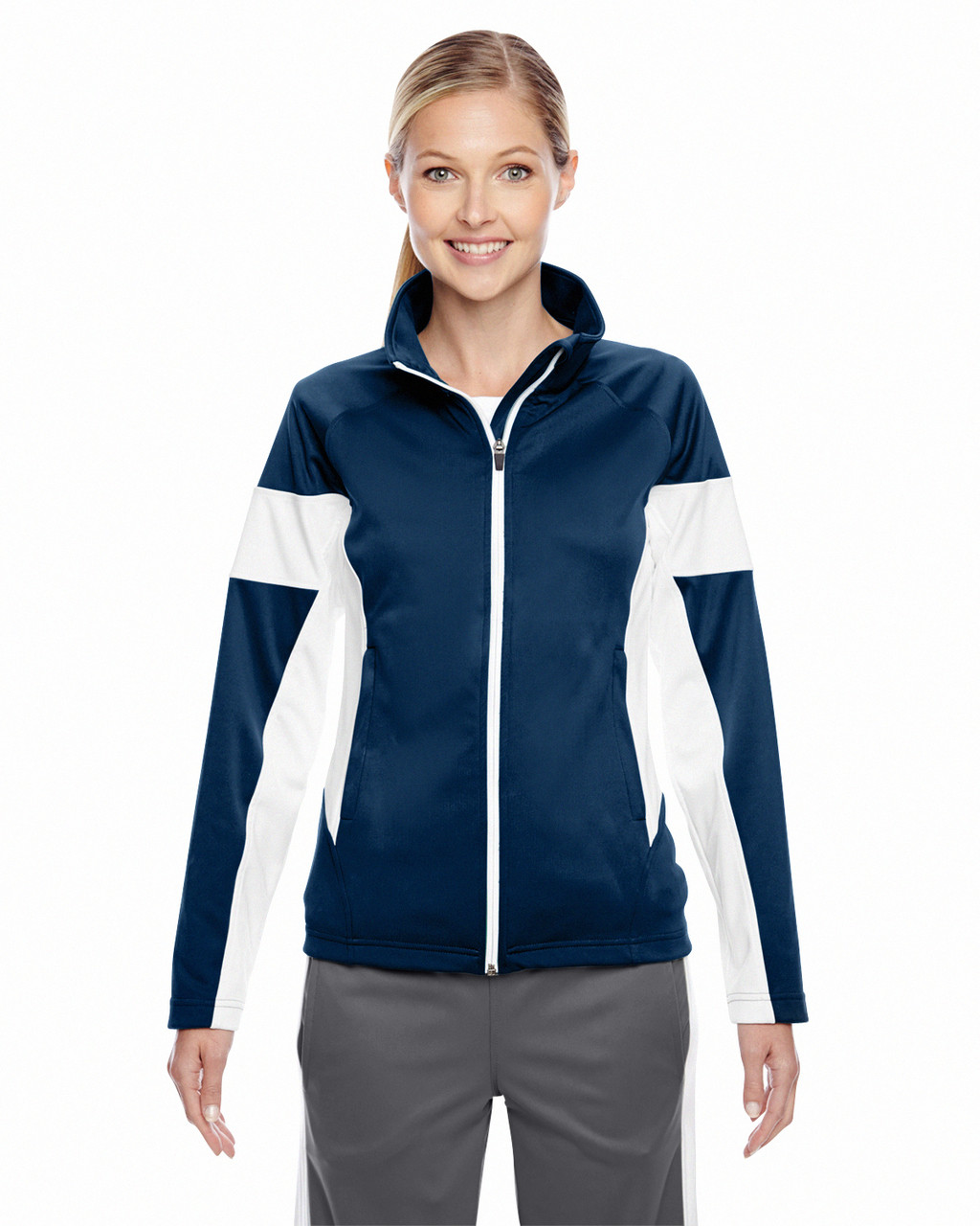 Dark Navy/White - TT34W Team 365 Ladies' Elite Performance Full-Zip Jacket