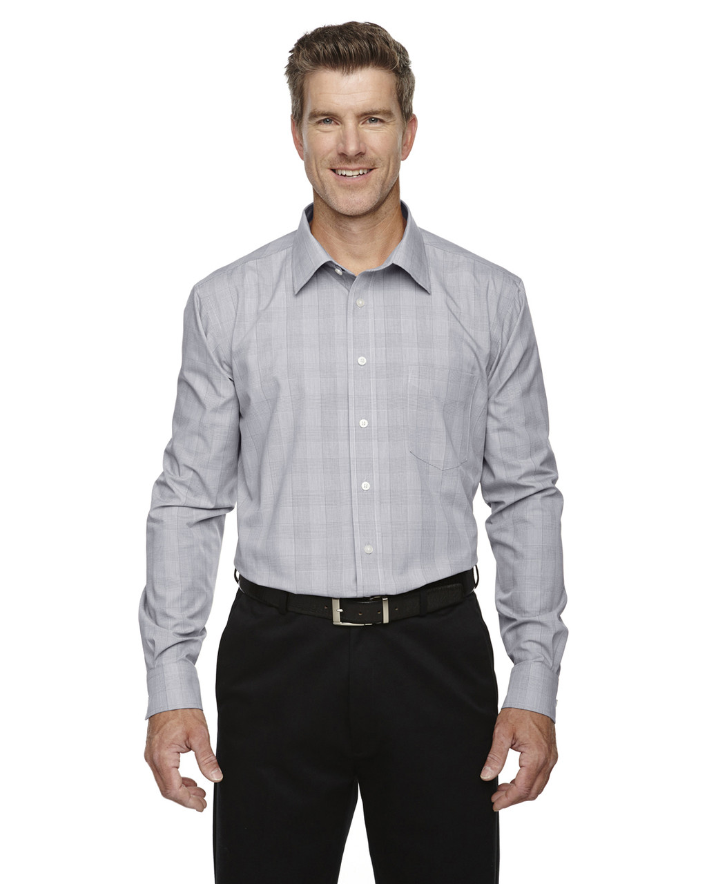 White/Graphite/Light Graphite - DG520 Devon & Jones Glen Plaid Shirt | BlankClothing.ca