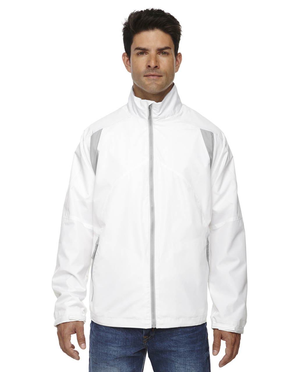 White - 88155 North End Men's Lightweight Colour-Block Jacket | Blankclothing.ca