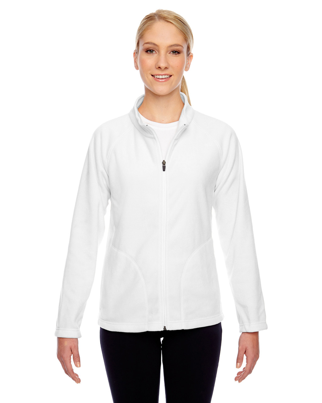 White - TT90W Team 365 Ladies' Campus Microfleece Jacket | BlankClothing.ca