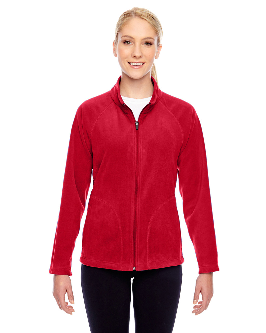 Red - TT90W Team 365 Ladies' Campus Microfleece Jacket | BlankClothing.ca