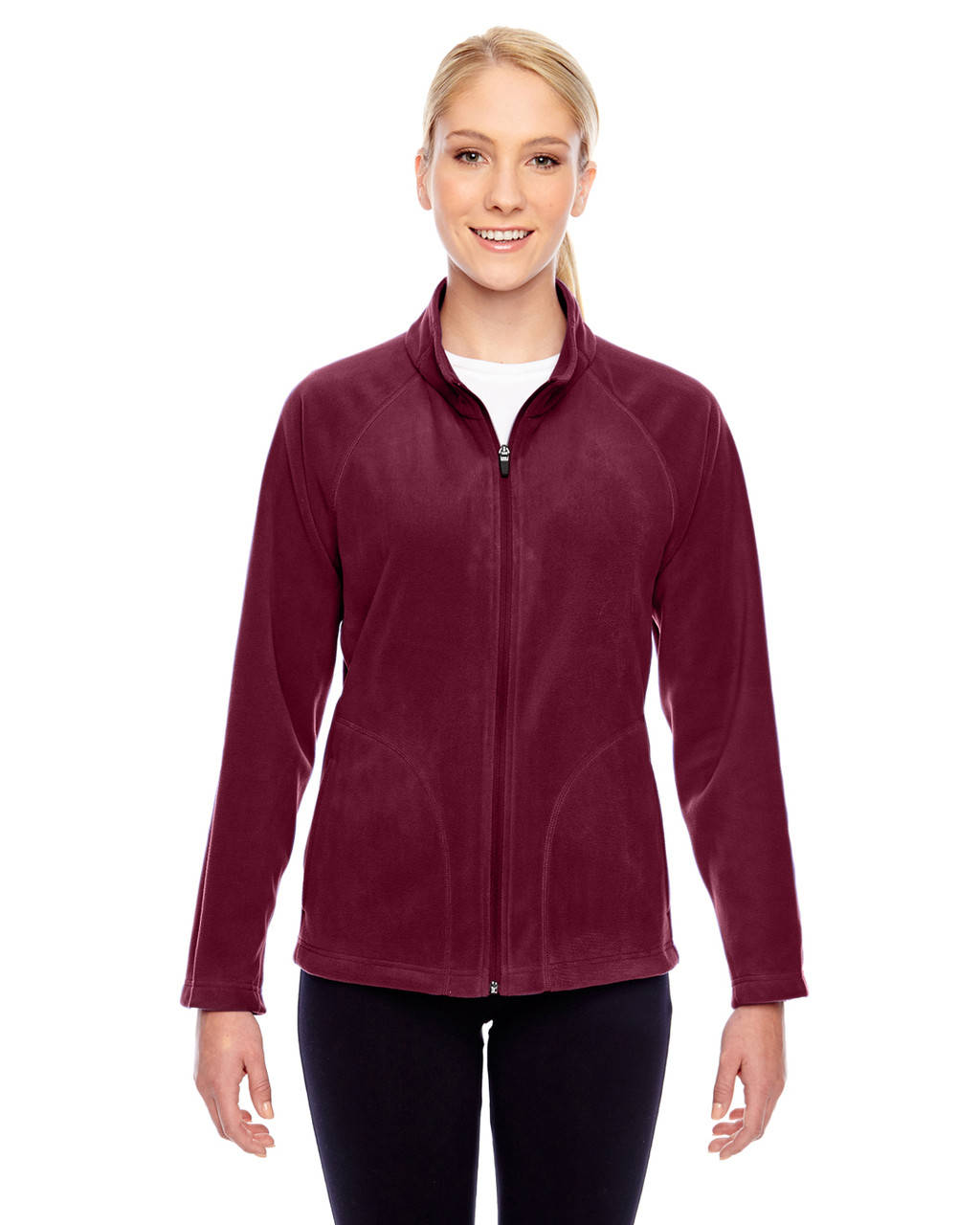 Maroon - TT90W Team 365 Ladies' Campus Microfleece Jacket | BlankClothing.ca