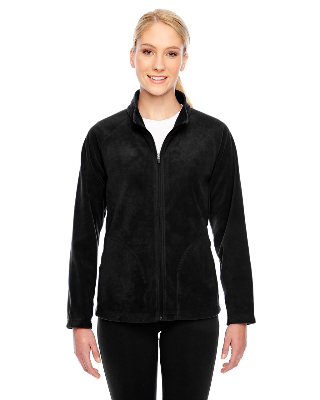 Black - TT90W Team 365 Ladies' Campus Microfleece Jacket | BlankClothing.ca