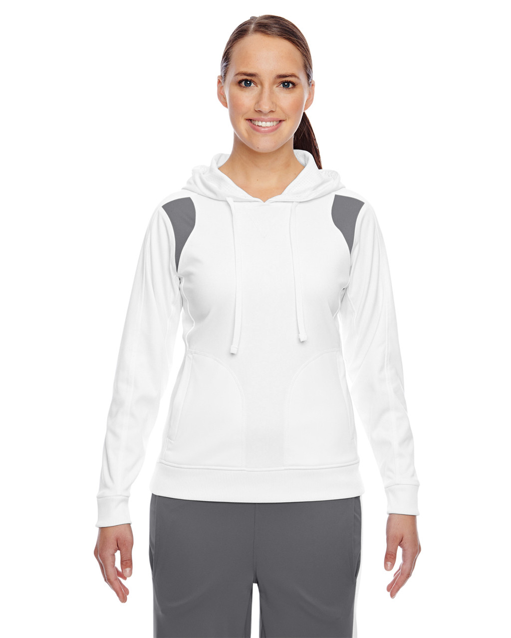 White/Graphite - TT30W Team 365 Ladies' Elite Performance Hoodie | Blankclothing.ca