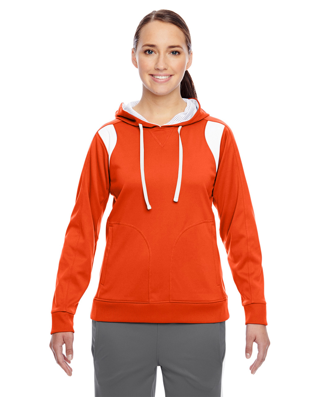 Orange/White - TT30W Team 365 Ladies' Elite Performance Hoodie | Blankclothing.ca