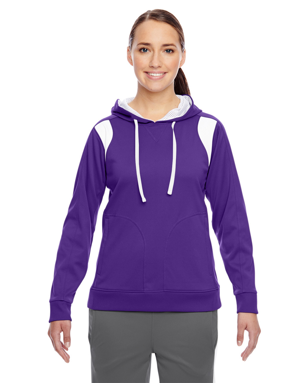 Purple/White - TT30W Team 365 Ladies' Elite Performance Hoodie | Blankclothing.ca