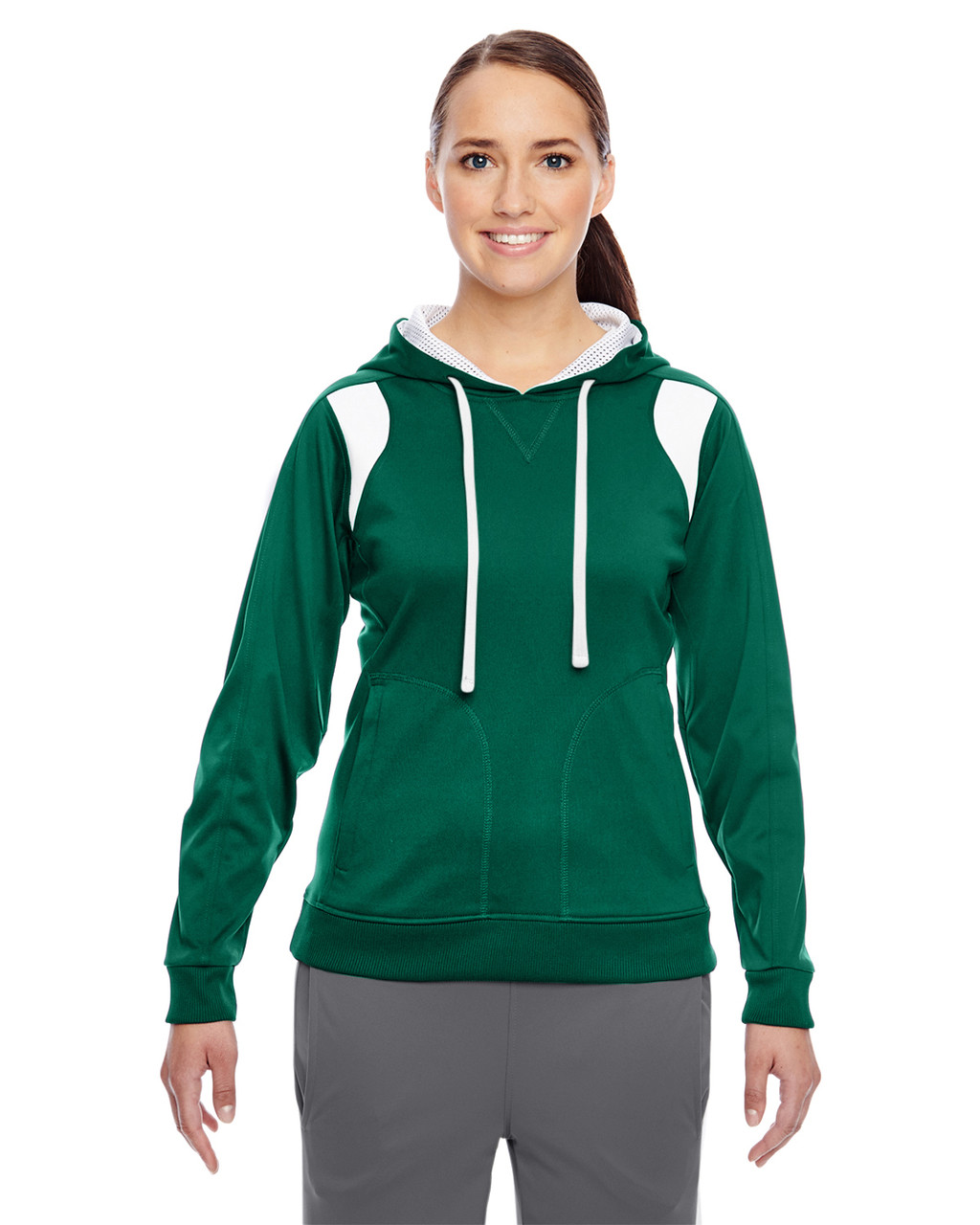 Forest/White - TT30W Team 365 Ladies' Elite Performance Hoodie | Blankclothing.ca
