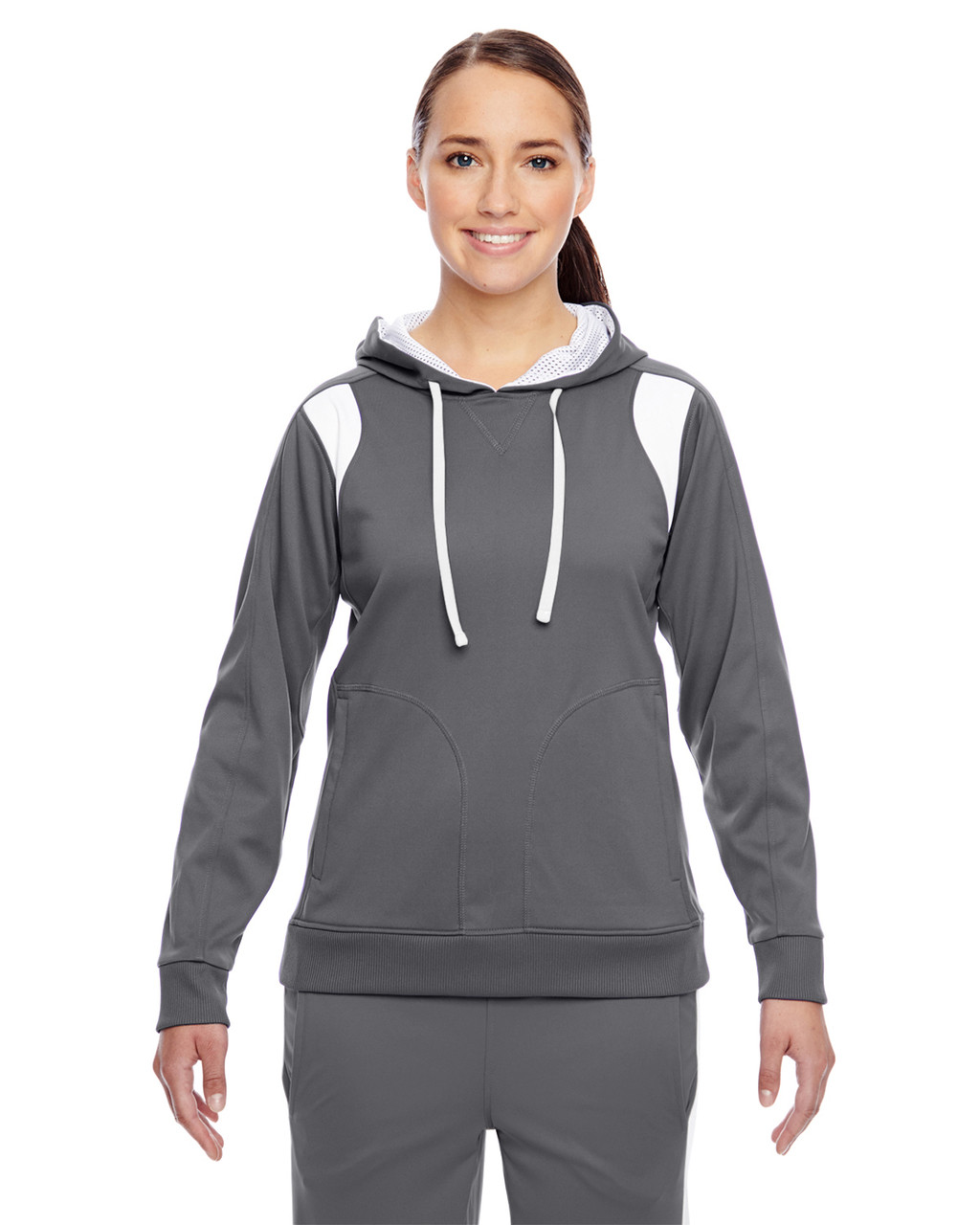 Graphite/White - TT30W Team 365 Ladies' Elite Performance Hoodie | Blankclothing.ca