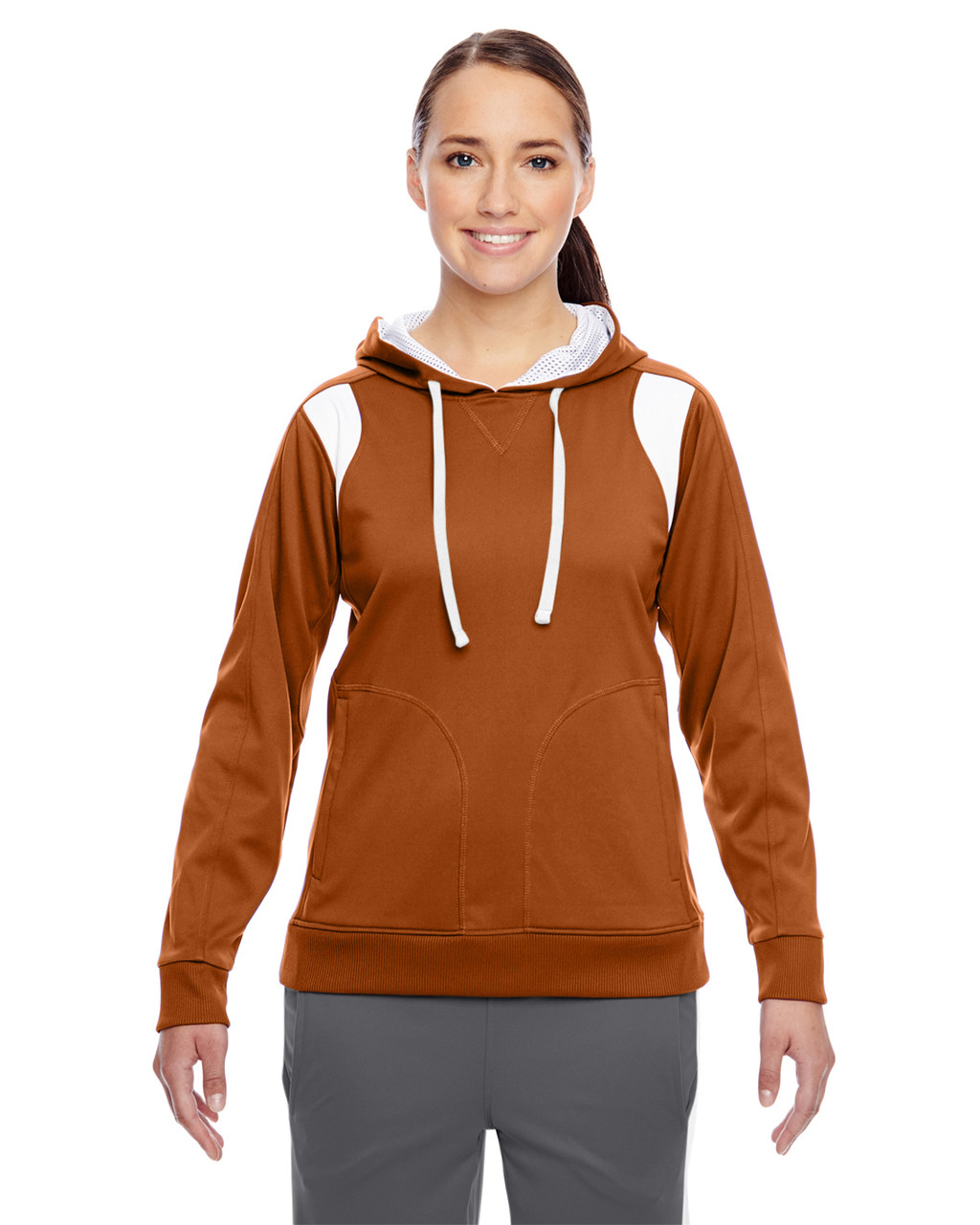 Burnt Orange/White - TT30W Team 365 Ladies' Elite Performance Hoodie | Blankclothing.ca