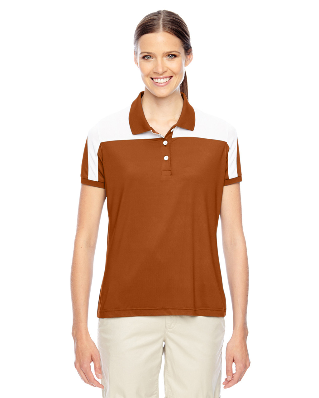 Burnt Orange/White - TT22W Team 365 Victor Performance Polo Shirt