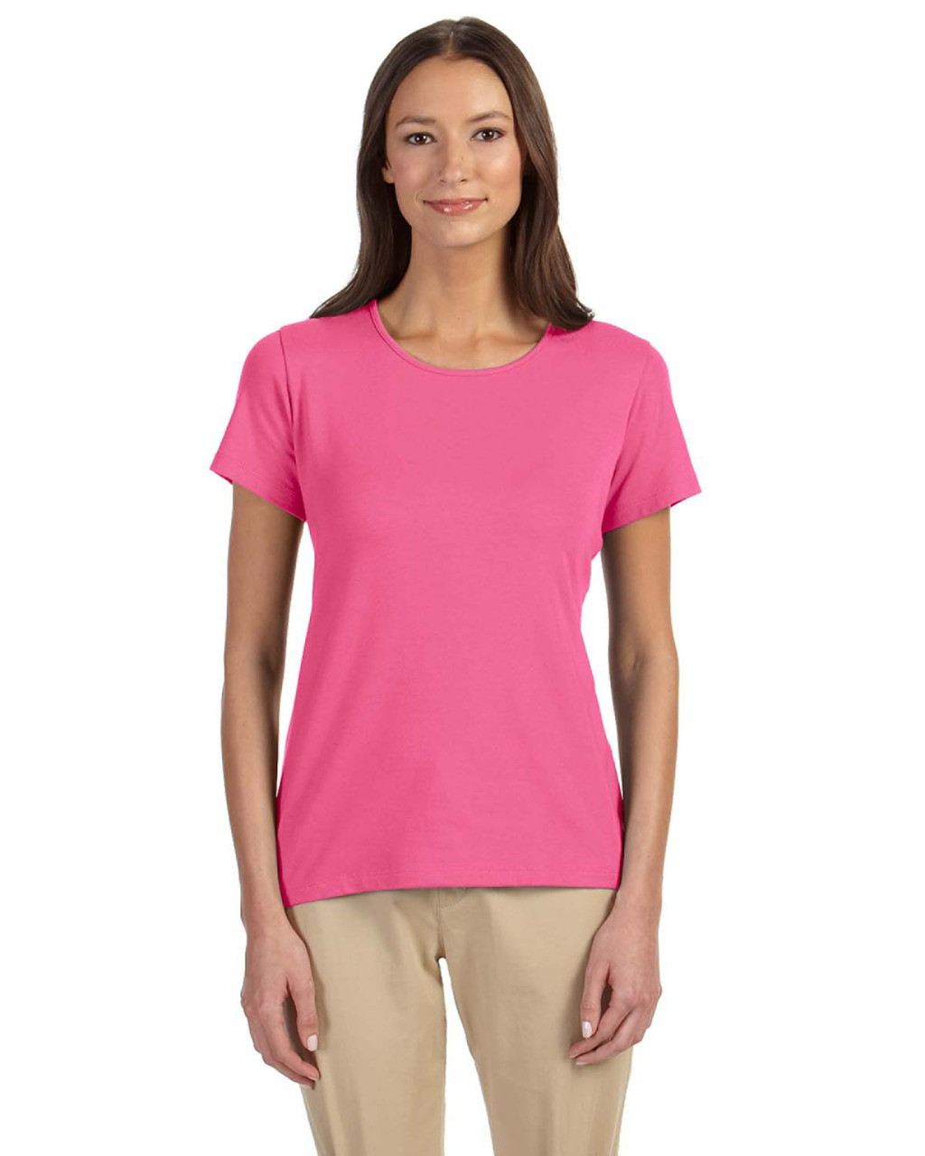 Charity Pink - DP182W Devon & Jones Ladies' Perfect Fit™ Shell T-Shirt | Blankclothing.ca