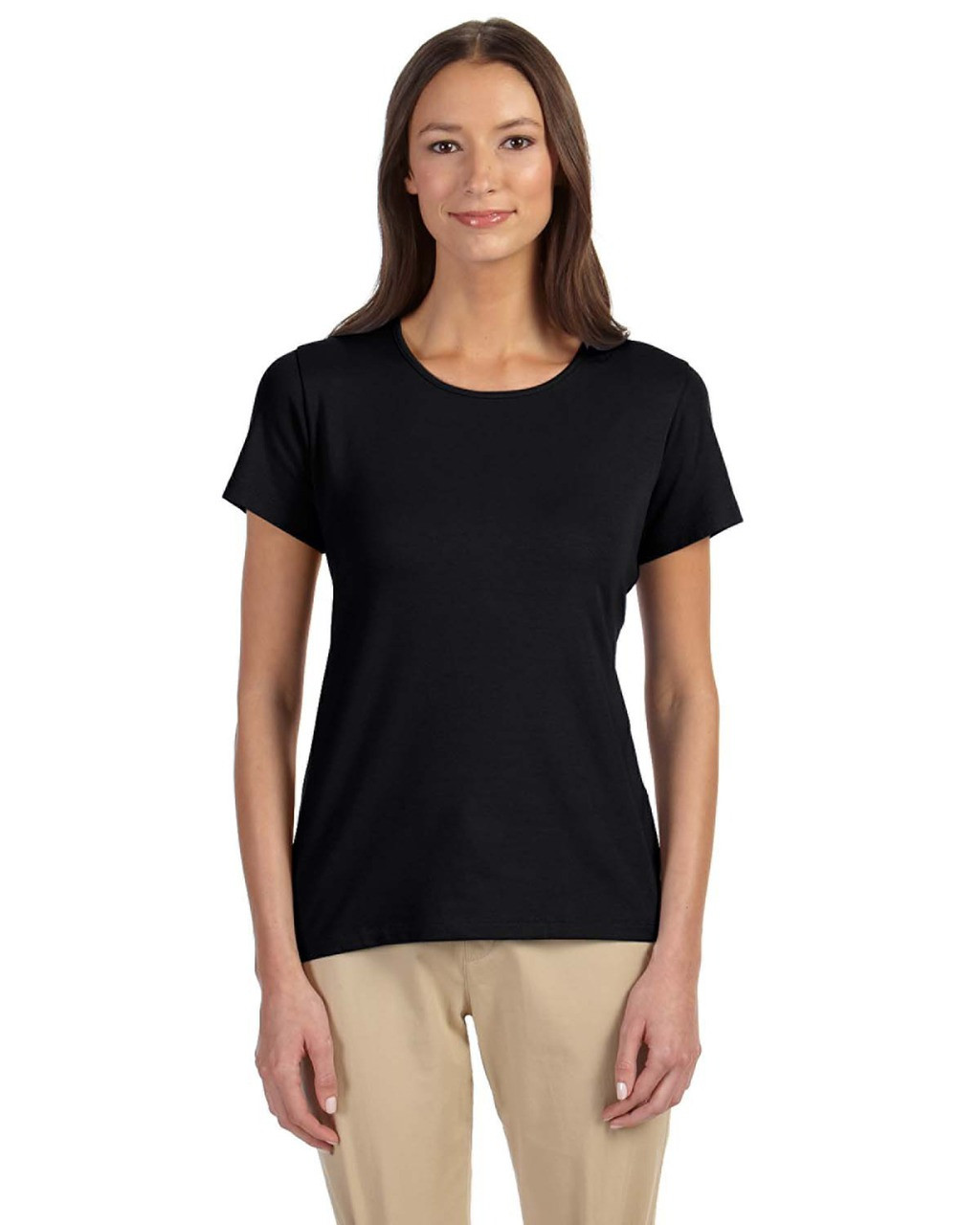 Black - DP182W Devon & Jones Ladies' Perfect Fit™ Shell T-Shirt | Blankclothing.ca