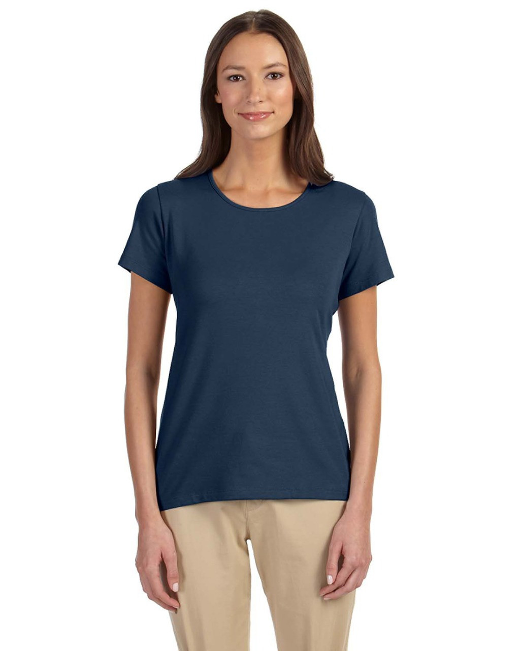 Navy - DP182W Devon & Jones Ladies' Perfect Fit™ Shell T-Shirt | Blankclothing.ca