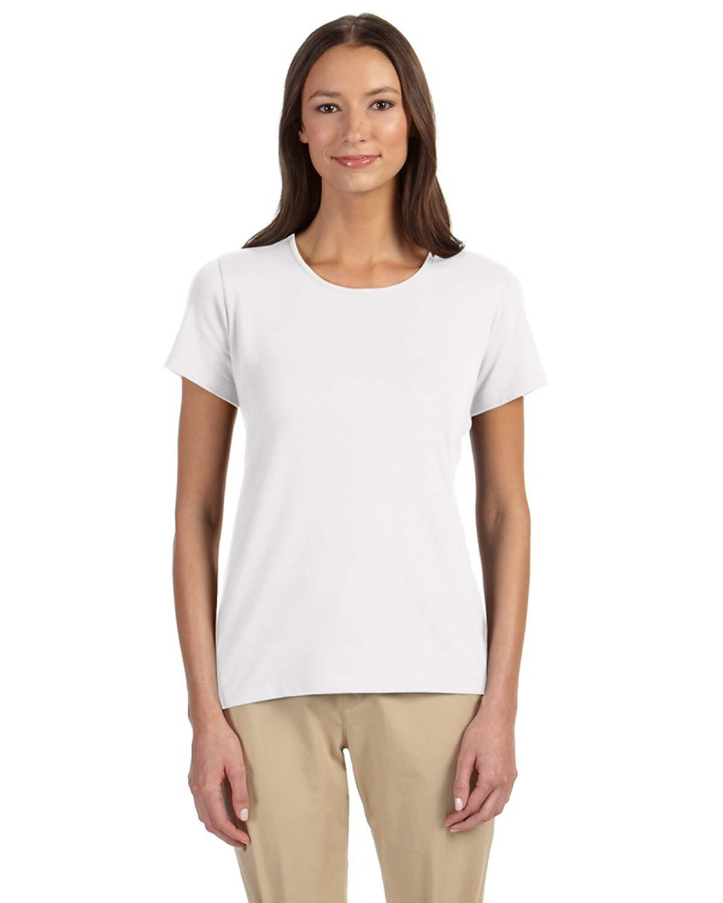 White - DP182W Devon & Jones Ladies' Perfect Fit™ Shell T-Shirt | Blankclothing.ca
