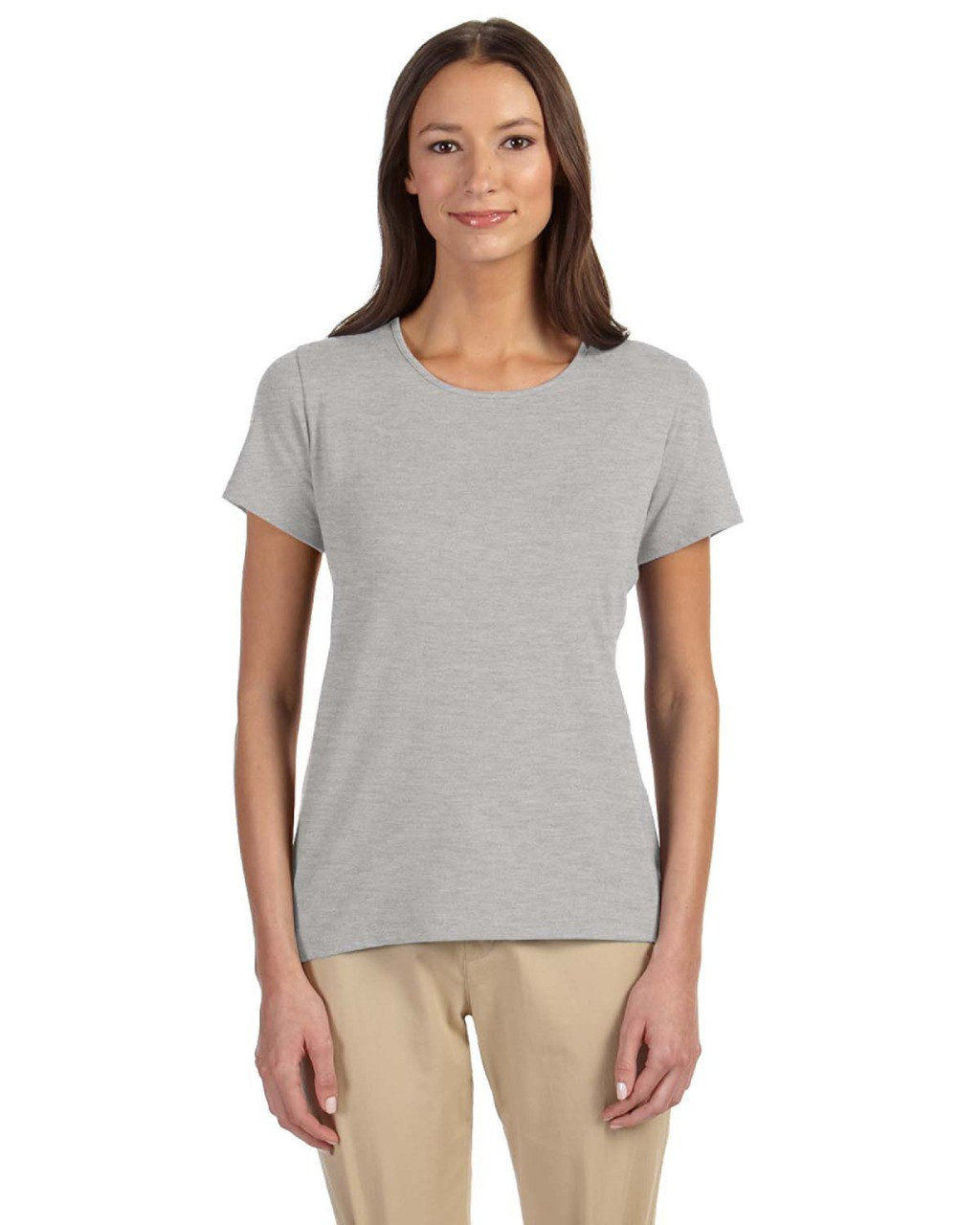Grey Heather - DP182W Devon & Jones Ladies' Perfect Fit™ Shell T-Shirt | Blankclothing.ca