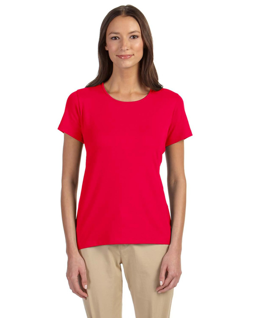 Red - DP182W Devon & Jones Ladies' Perfect Fit™ Shell T-Shirt | Blankclothing.ca