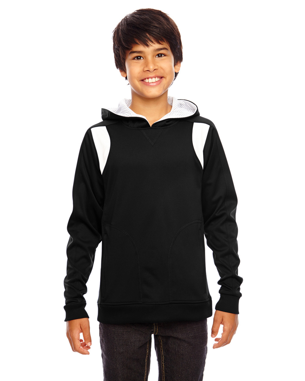 Black/White - TT30Y Team 365 Youth Elite Performance Hoodie | BlankClothing.ca