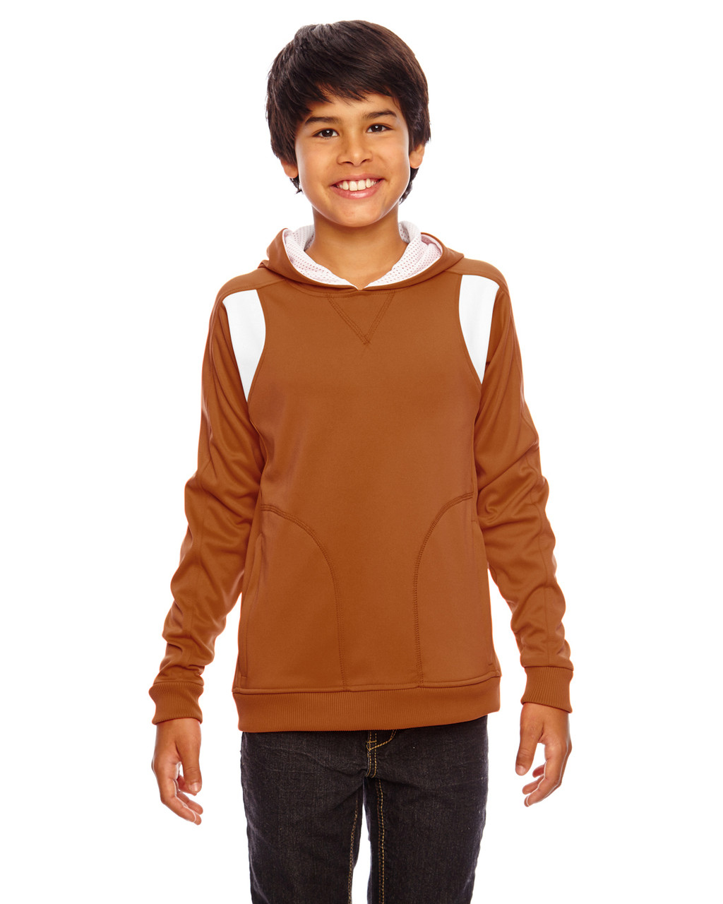 Burnt Orange/White - TT30Y Team 365 Youth Elite Performance Hoodie | BlankClothing.ca