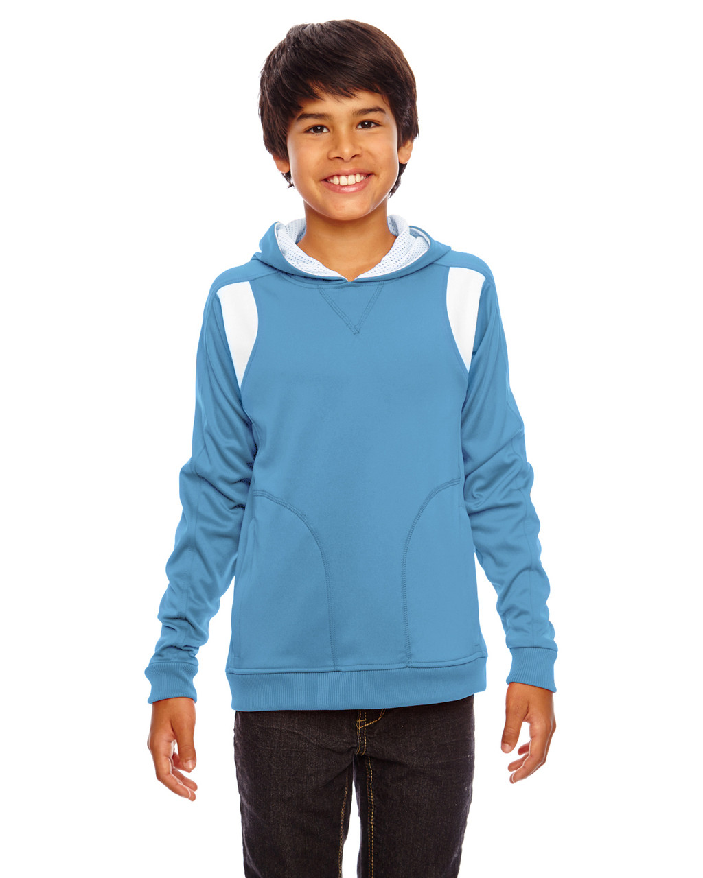 Light Blue/White - TT30Y Team 365 Youth Elite Performance Hoodie | BlankClothing.ca