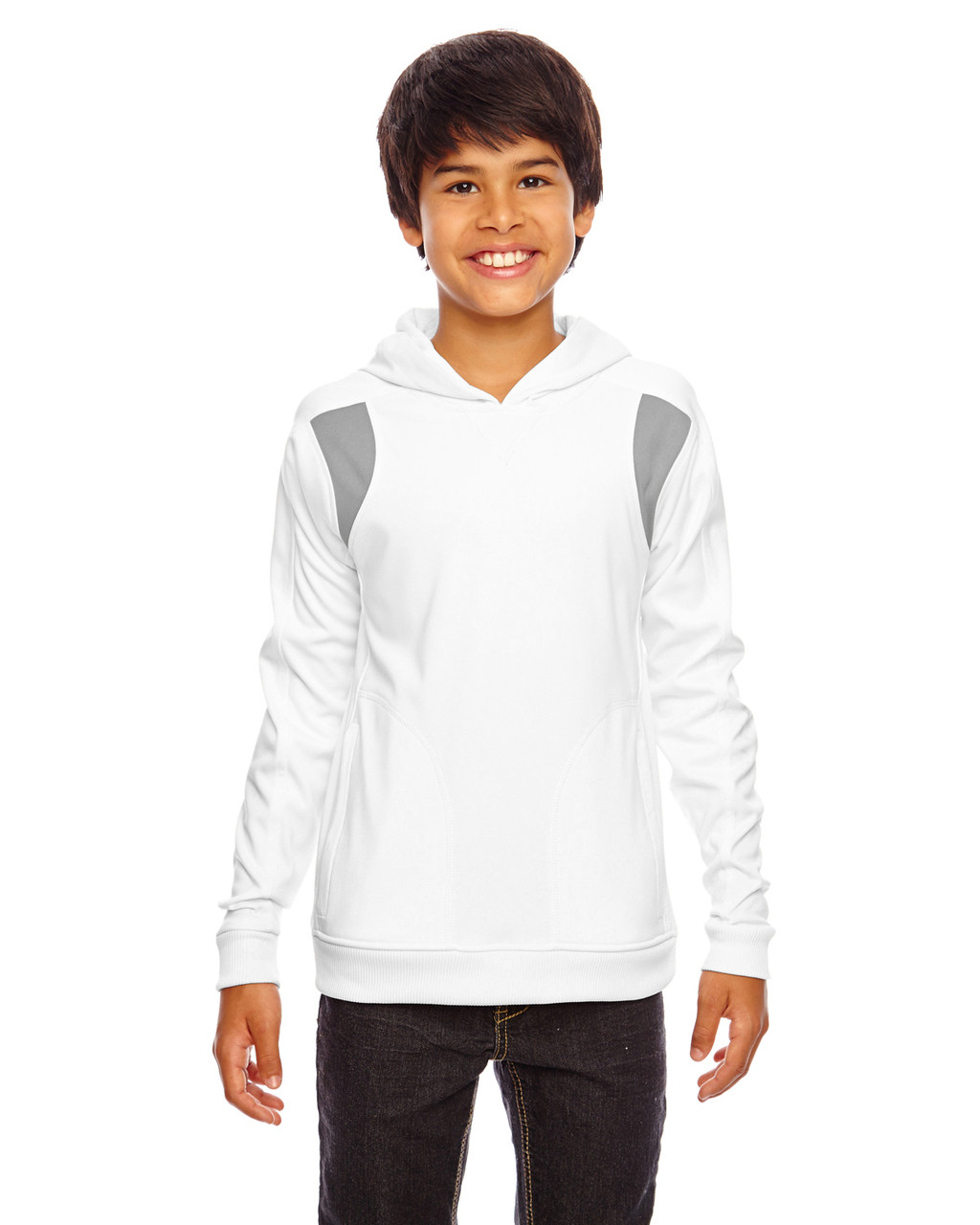 White/Graphite - TT30Y Team 365 Youth Elite Performance Hoodie | BlankClothing.ca