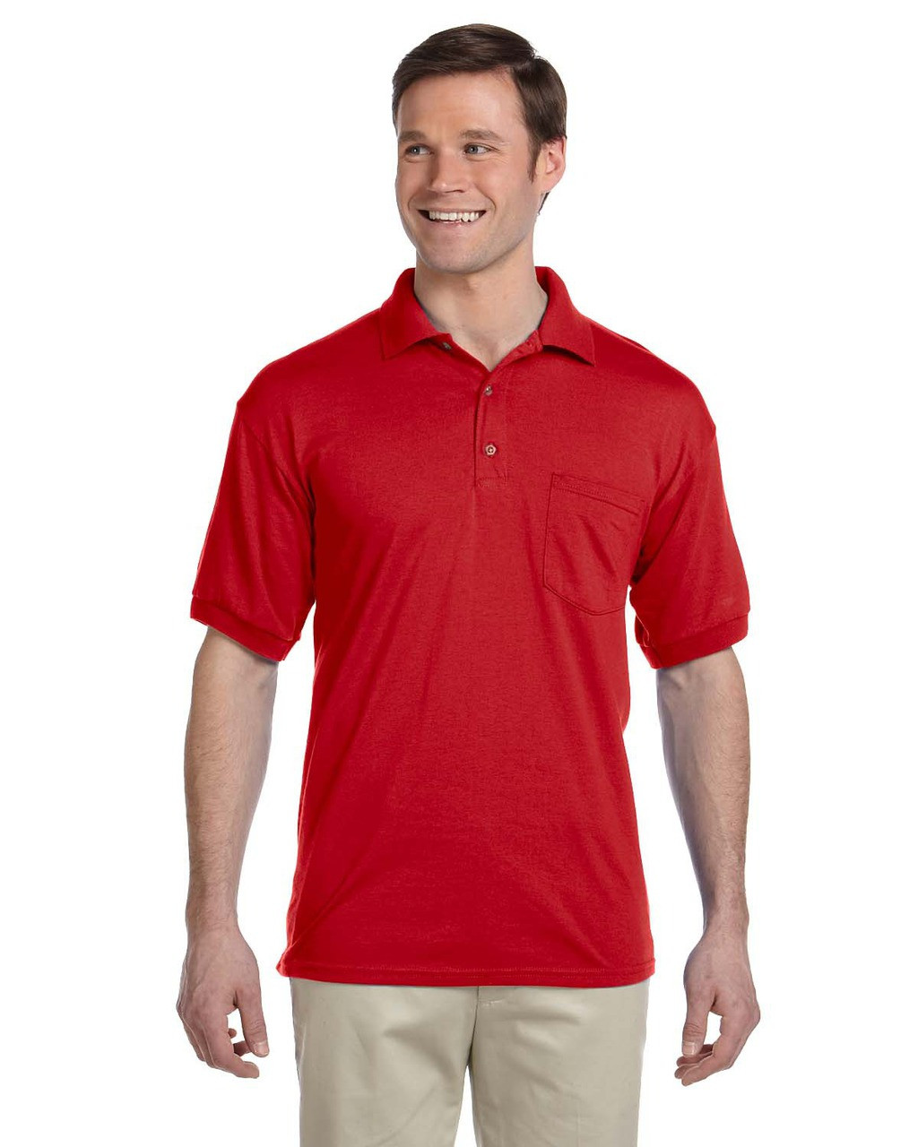 Red - G890 Gildan DryBlend® 50/50 Jersey Polo Shirt with Pocket | Blankclothing.ca