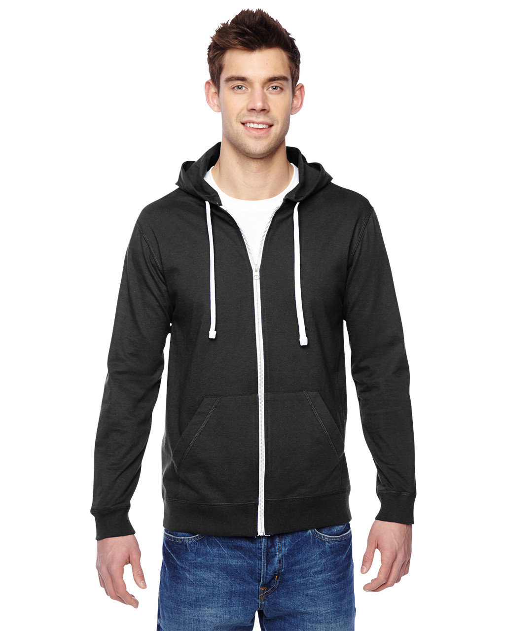 Black - SF60R Fruit of the Loom Softspun Cotton Jersey Full-Zip Hoodie | Blankclothing.ca