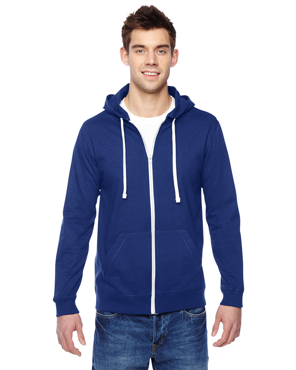 Admiral Blue - SF60R Fruit of the Loom Softspun Cotton Jersey Full-Zip Hoodie | Blankclothing.ca