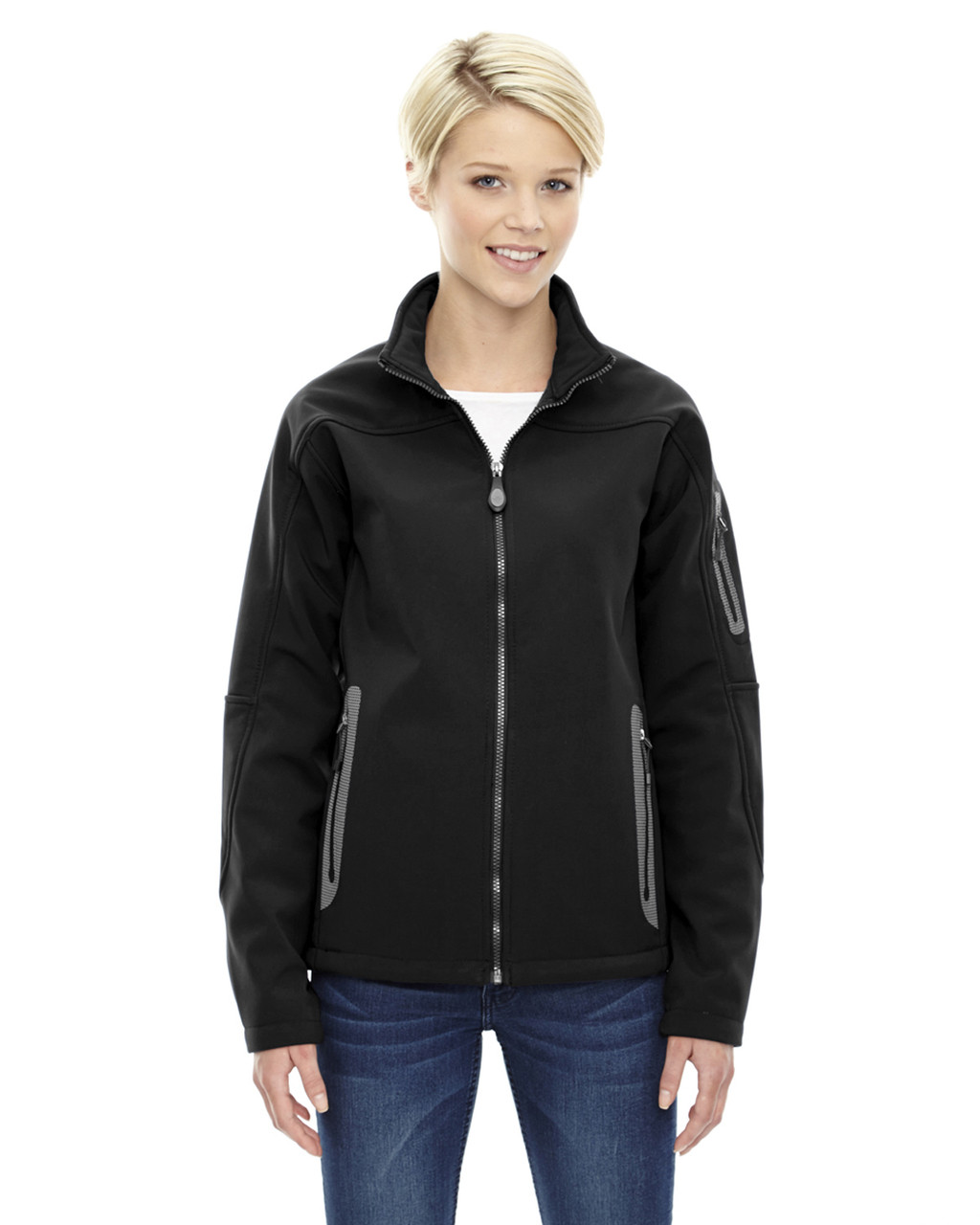 Black - 78060 North End Ladies' Soft Shell Technical Jacket | Blankclothing.ca
