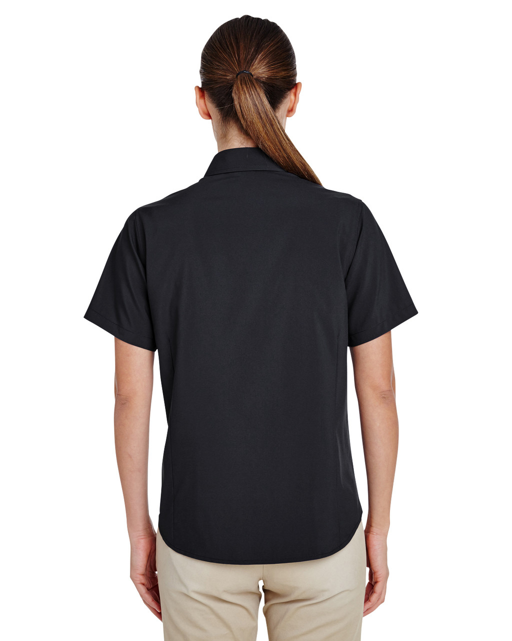 Black, Back - M610SW Harriton Paradise Short-Sleeve Performance Shirt | BlankClothing.ca