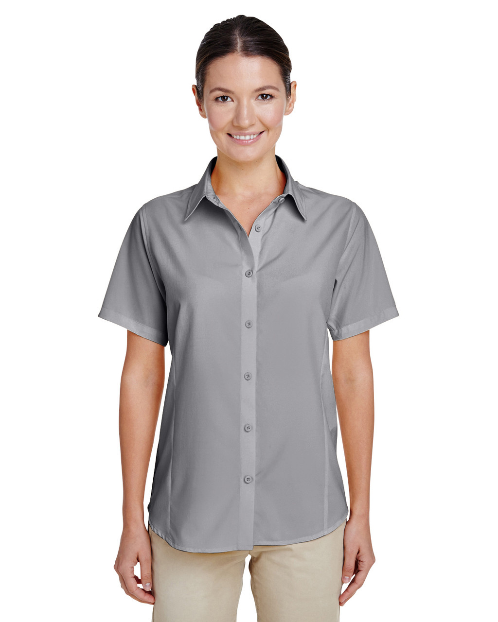 Dark Grey - M610SW Harriton Paradise Short-Sleeve Performance Shirt | BlankClothing.ca