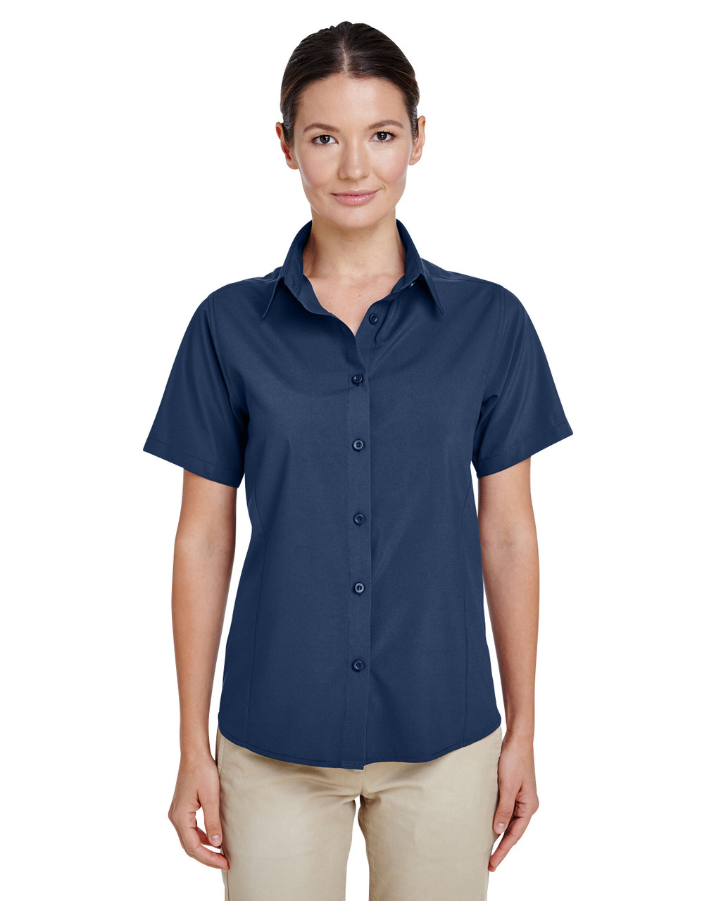 Navy - M610SW Harriton Paradise Short-Sleeve Performance Shirt | BlankClothing.ca